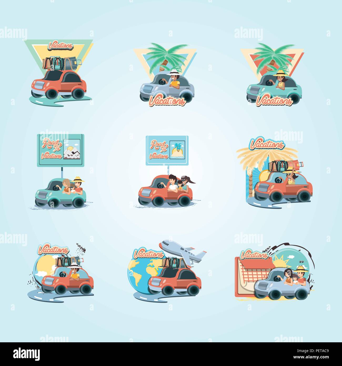 group of people in car vacations vector illustration design Stock Vector
