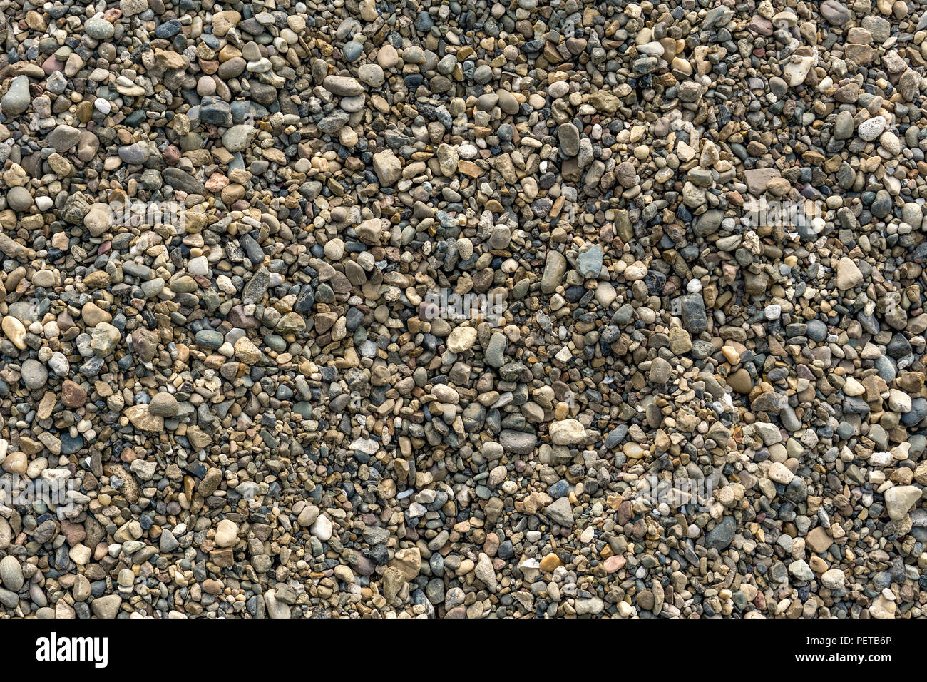 Abstract natural background with dry round pebble stone uneven surface. Gravel texture. - Stock Image