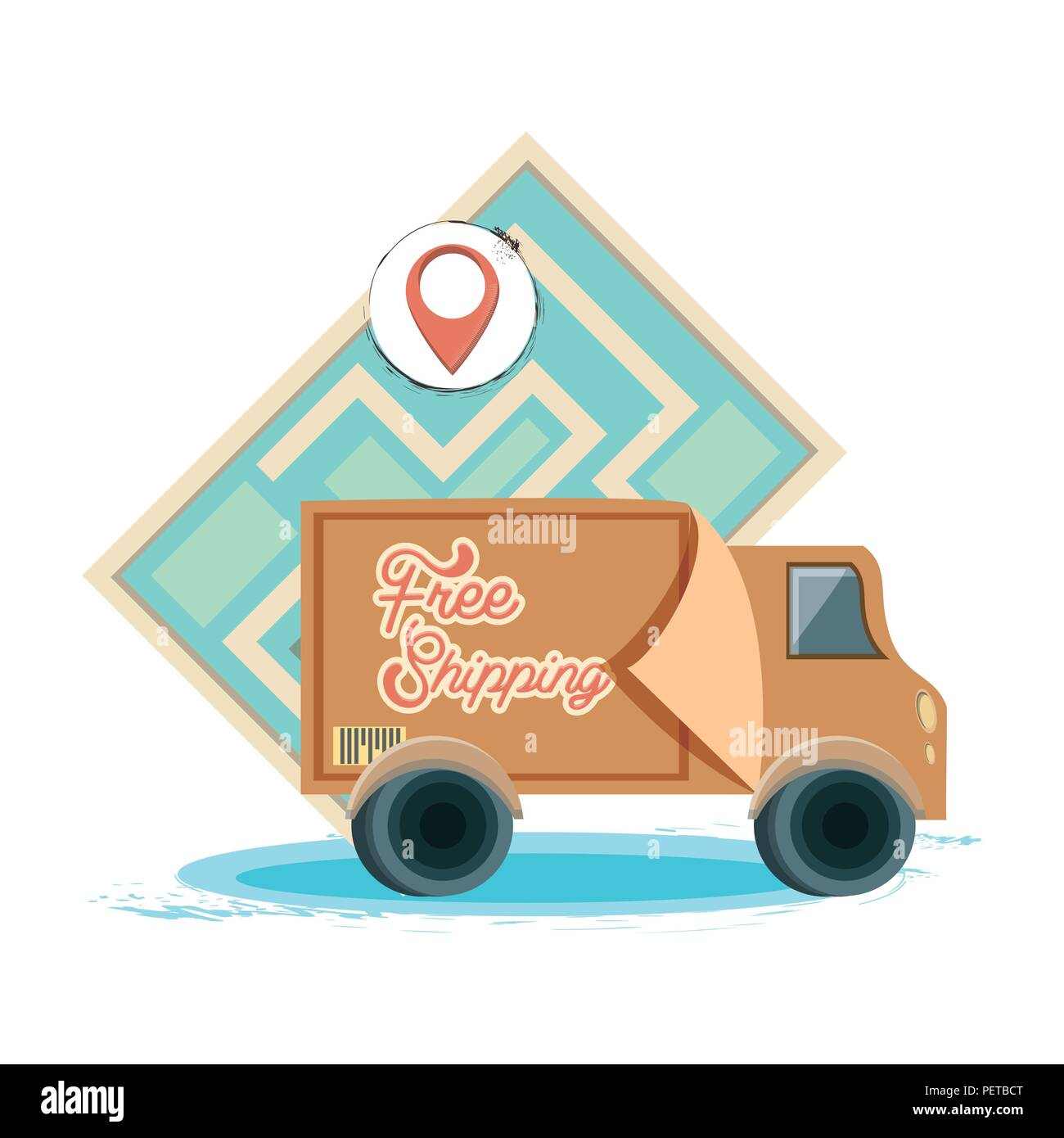 free shipping service with truck vector illustration design - Stock Image