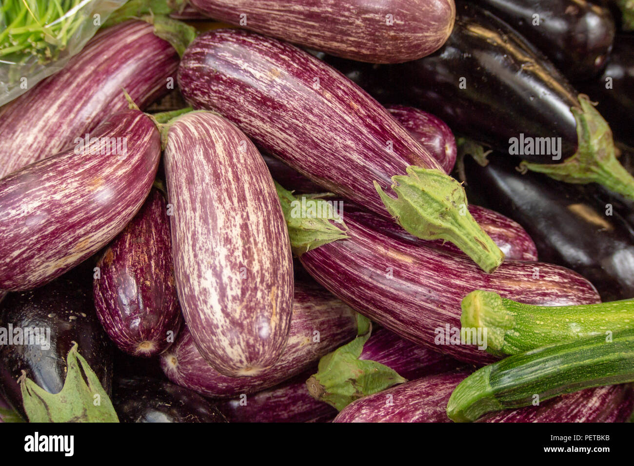 Fresh Aubergines on Sale in Borough Market, Southwark, London UK - Stock Image