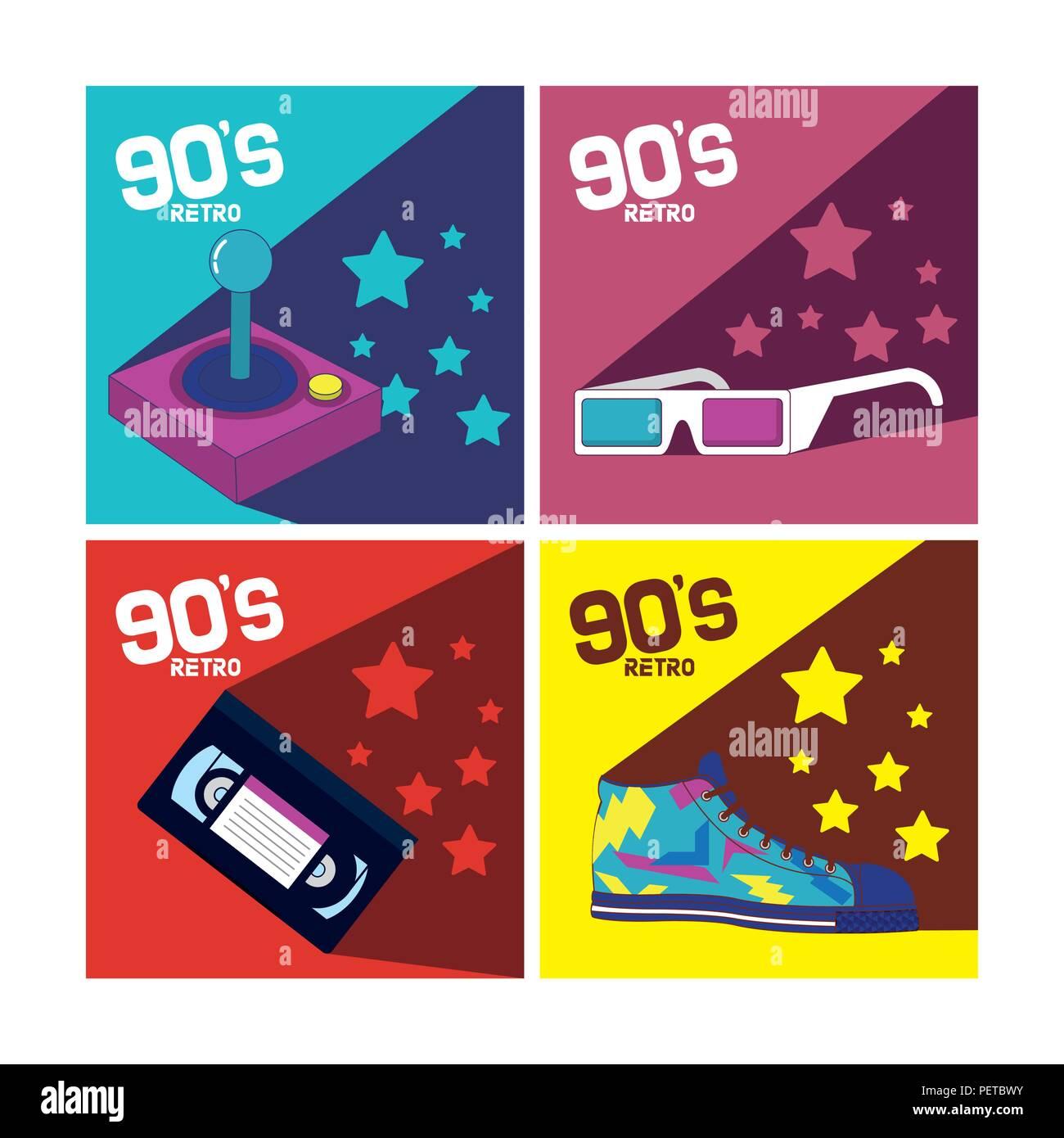 Set of 90s cartoons elements Stock Vector
