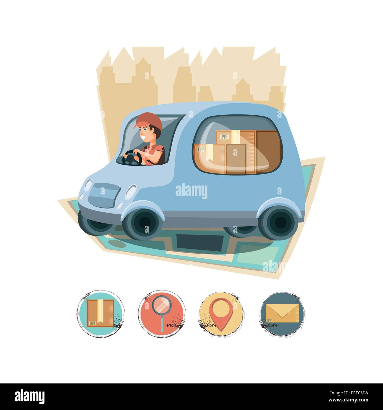 courier delivery service in van vector illustration design - Stock Image