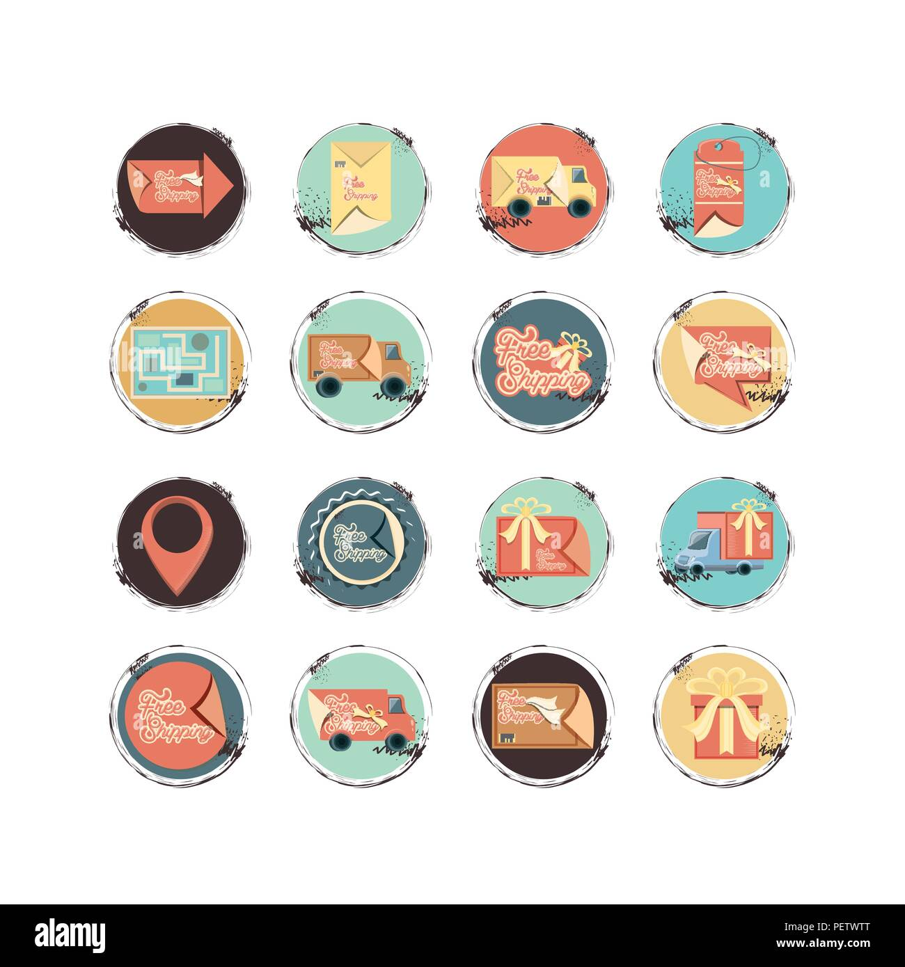 food delivery service set icons vector illustration design - Stock Image