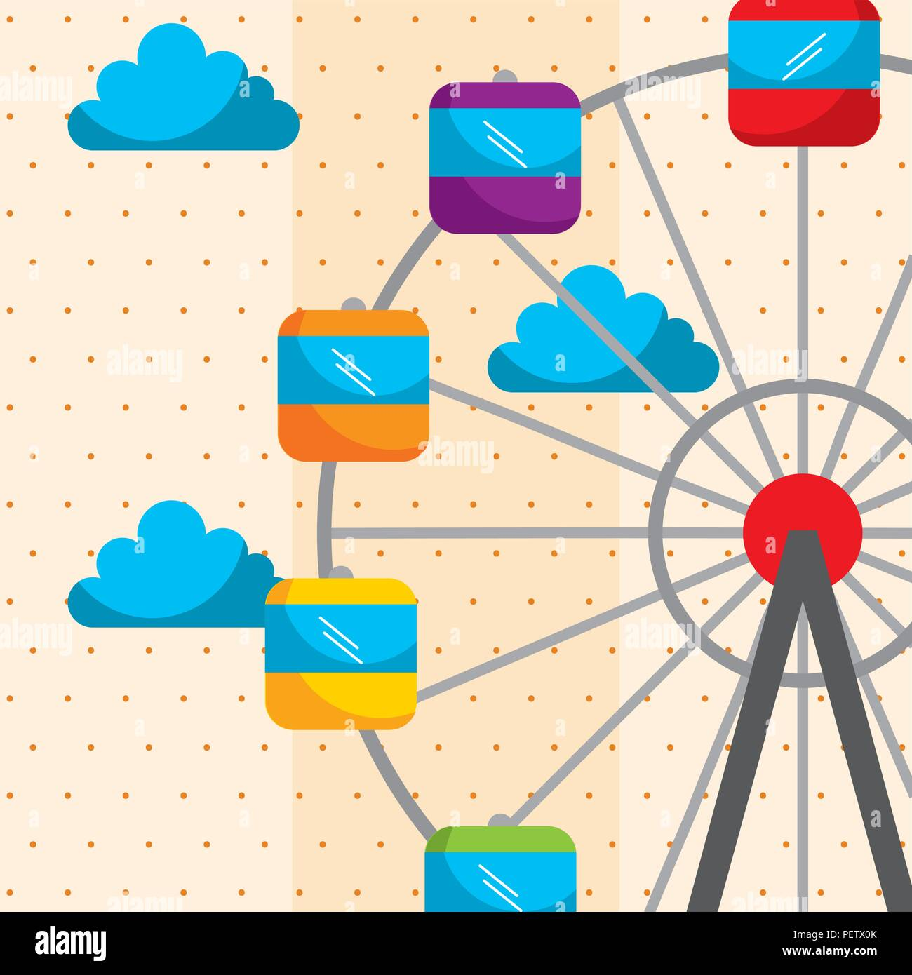 ferris wheel sky carnival fun fair festival - Stock Vector