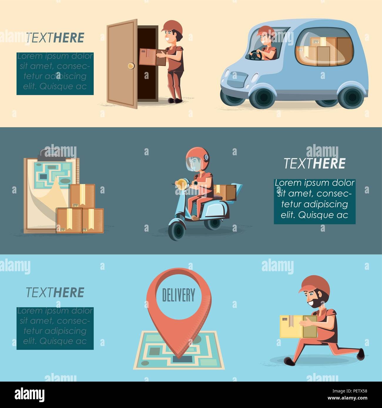 couriers delivery service characters vector illustration design - Stock Image