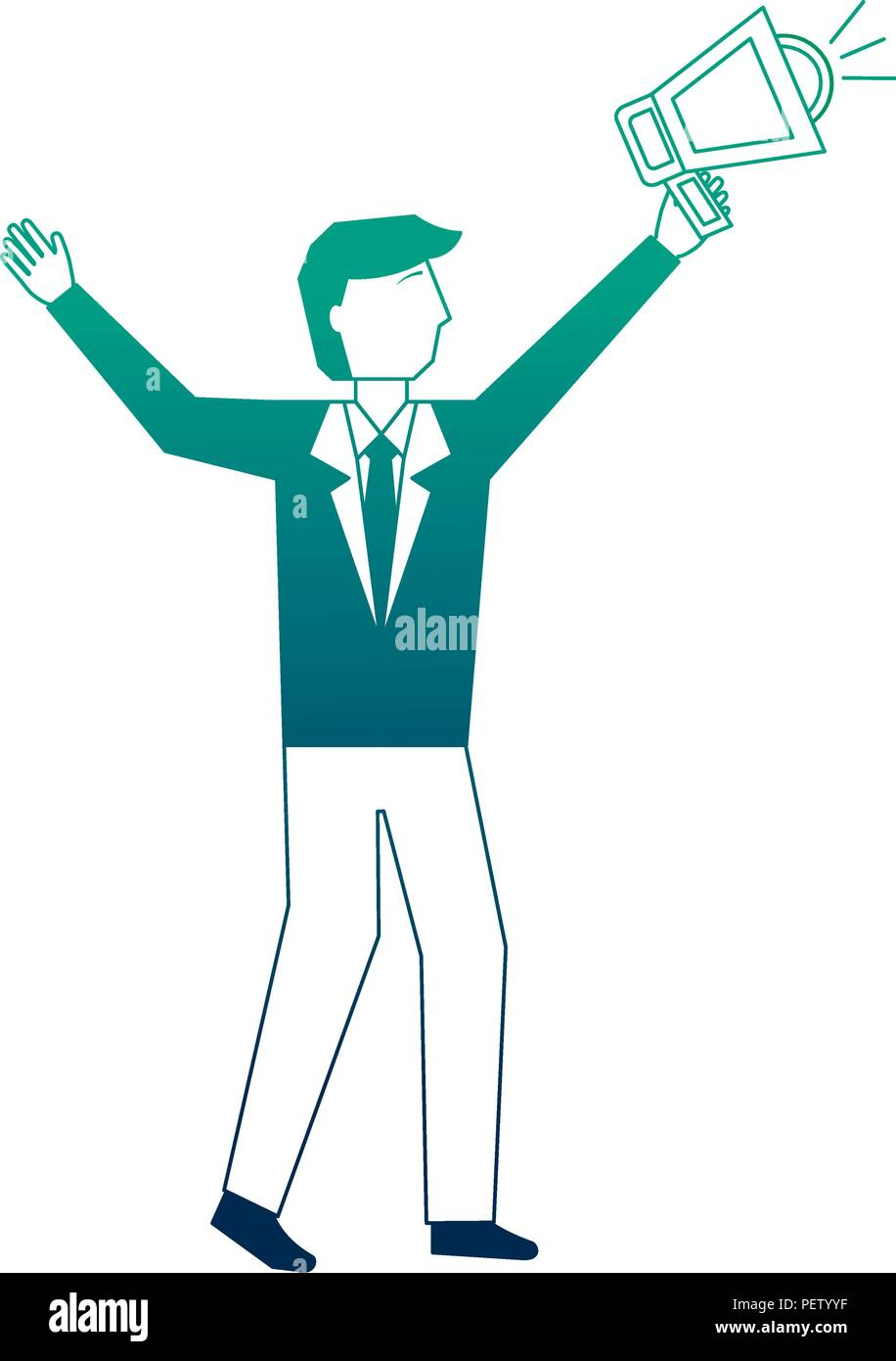 businessman with megaphone avatar character - Stock Image