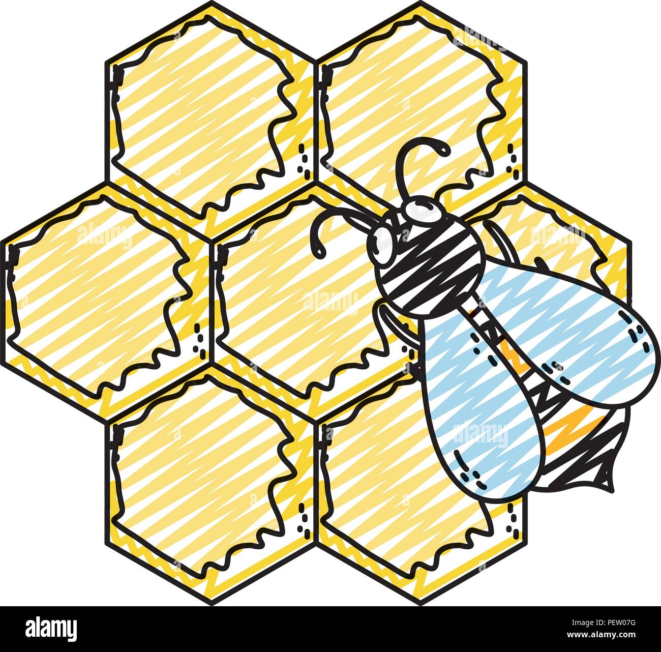 doodle cute bee insect with delicious honey - Stock Vector