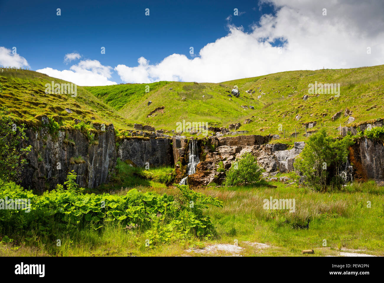 UK, Cumbria, Eden Valley, Cotegill Bridge, Near Cote Gill waterfall down old quarry workings - Stock Image