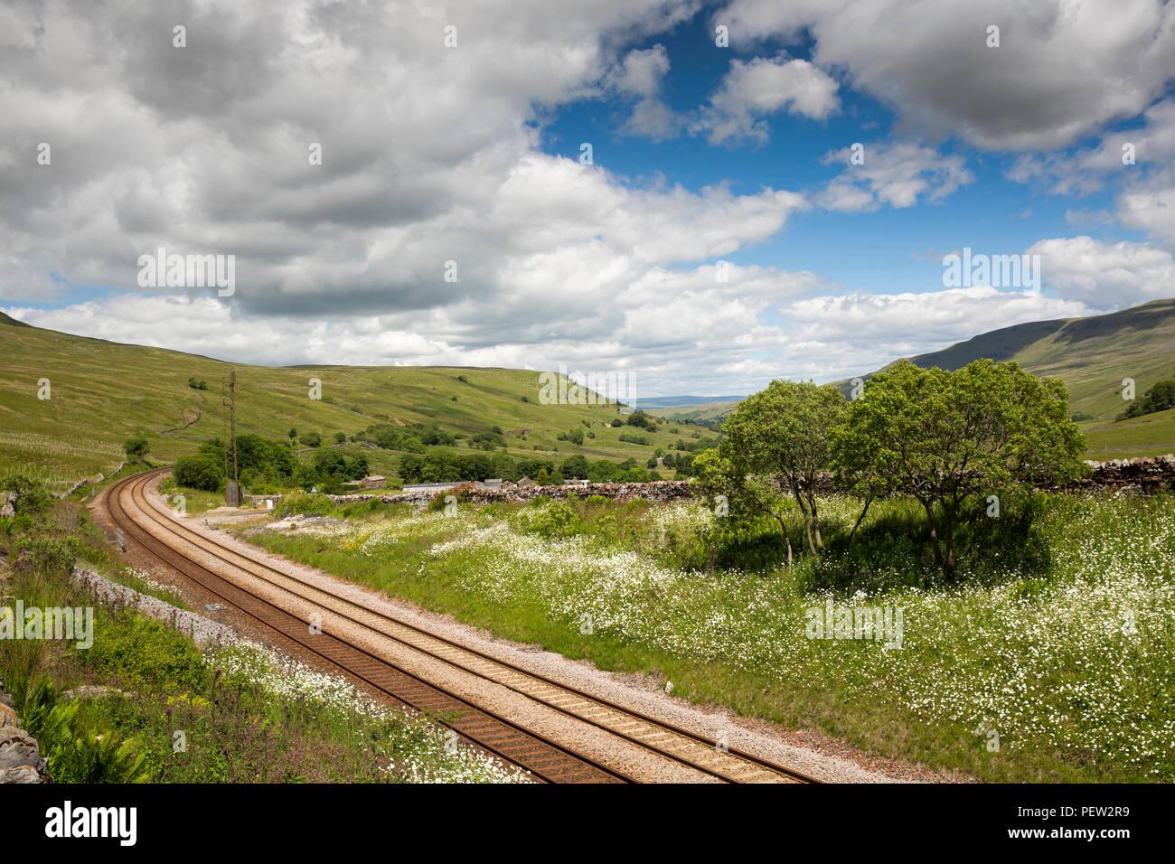 UK, Cumbria, Eden Valley, Settle to Carlisle railway line at Cotegill Bridge - Stock Image