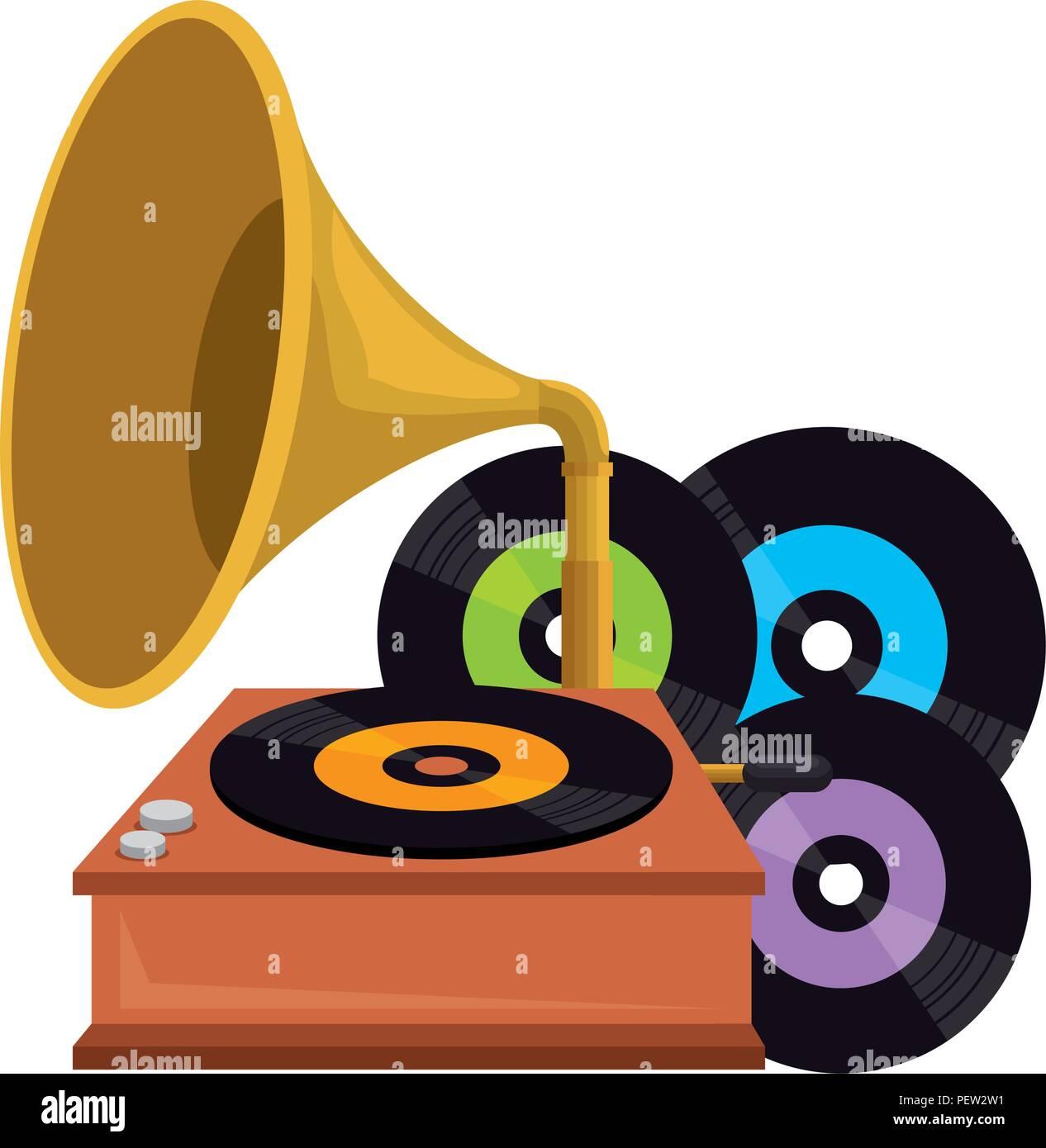 vinyl disks with gramophone vector illustration design stock vector art illustration vector image 215680669 alamy alamy