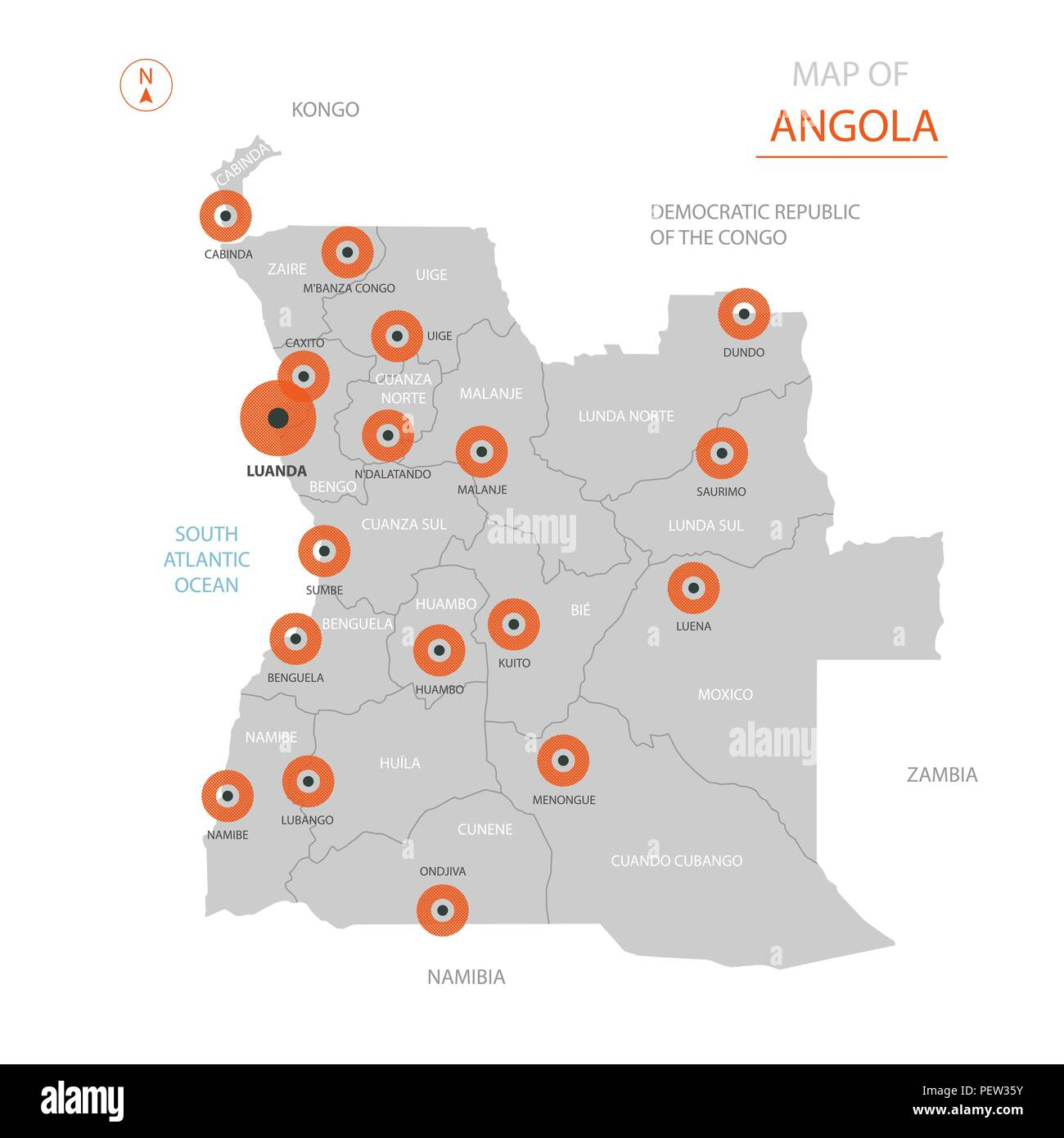 Stylized vector Angola map showing big cities, capital Luanda, administrative divisions. - Stock Vector