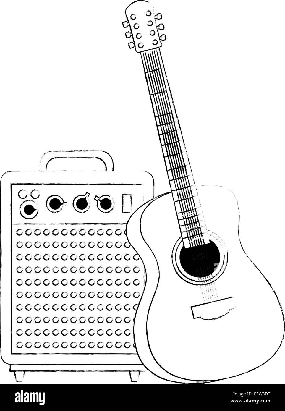 Guitar Player Cartoon Black And White Stock Photos Images Alamy