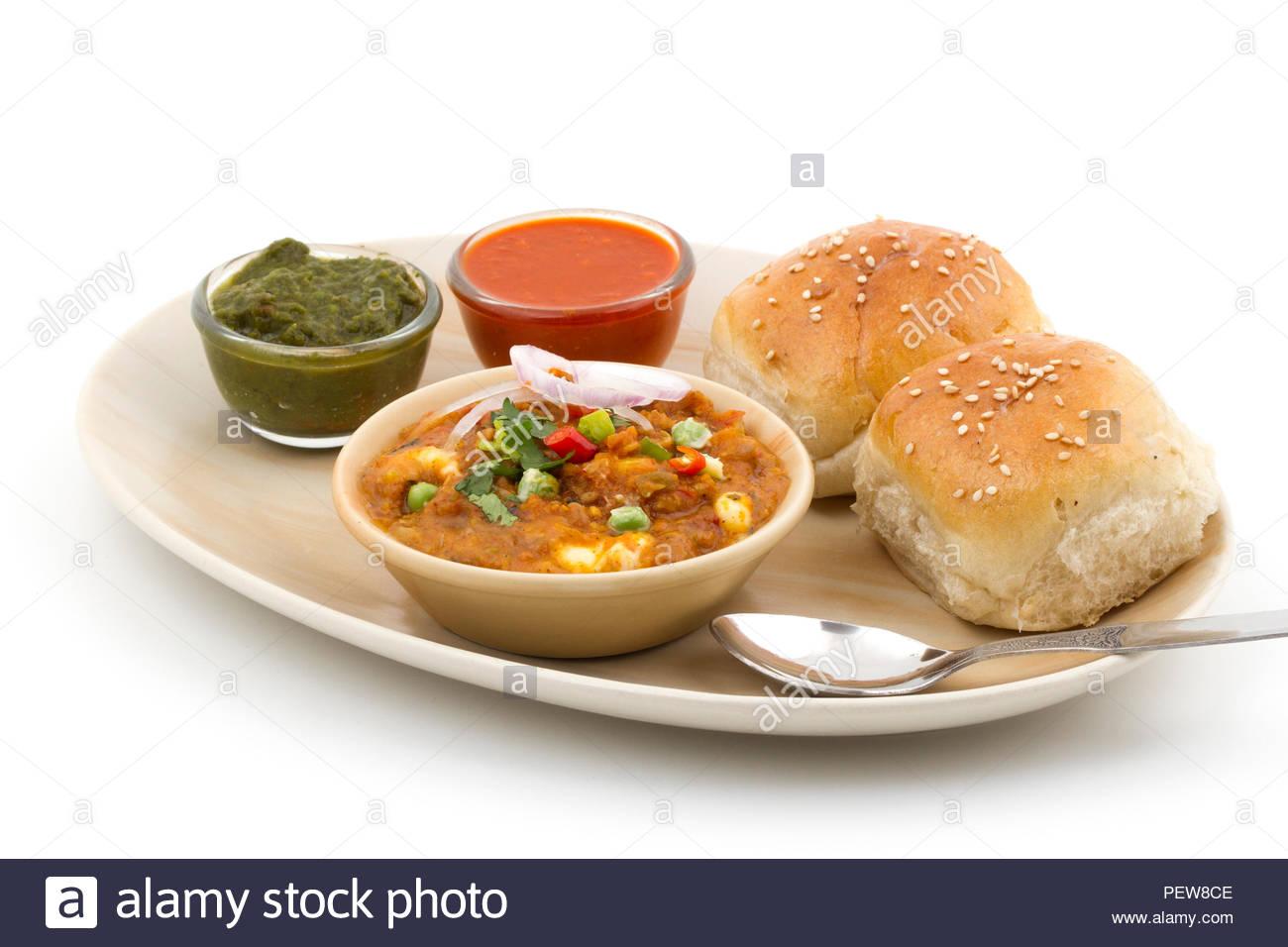 Indian Traditional Street Food Pav Bhaji - Stock Image