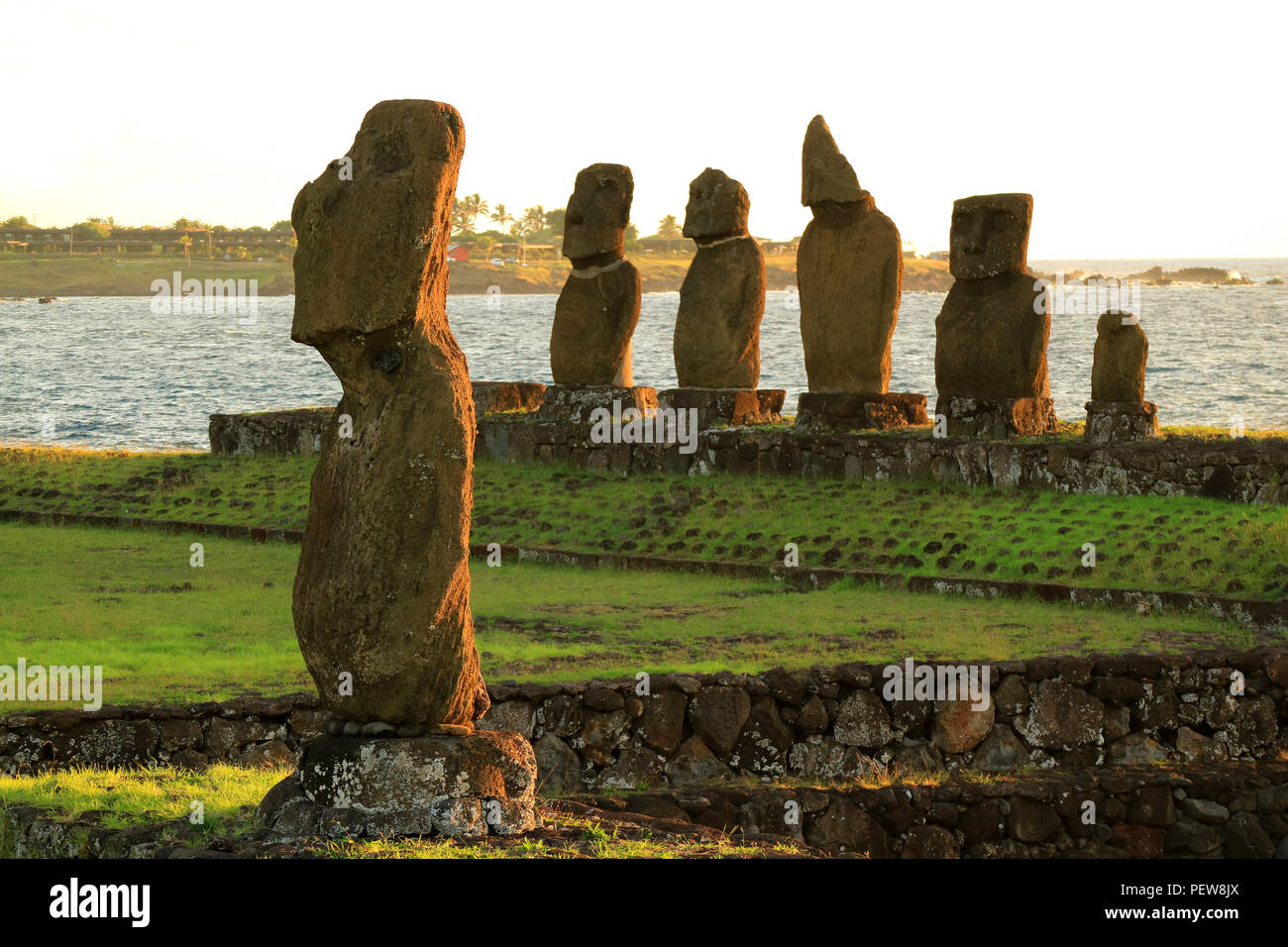 Moai Statues at Ahu Tahai, the Ceremonial Complex on Easter Island of Chile, Archaeological site - Stock Image