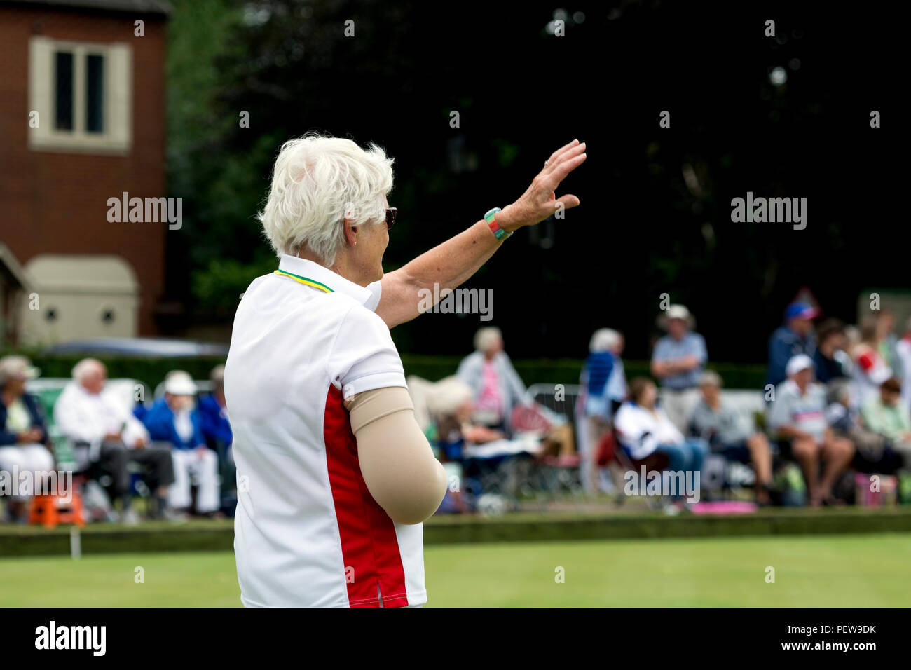 A player signalling at the national women`s lawn bowls championships, Leamington Spa, UK - Stock Image