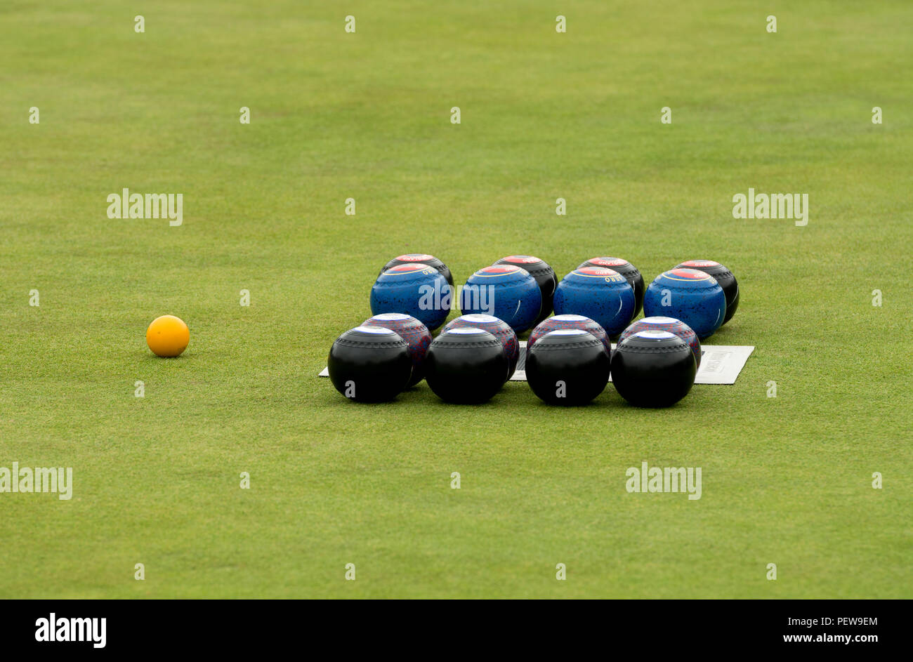 Bowls set out before a match at the national women`s lawn bowls championships, Leamington Spa, UK - Stock Image