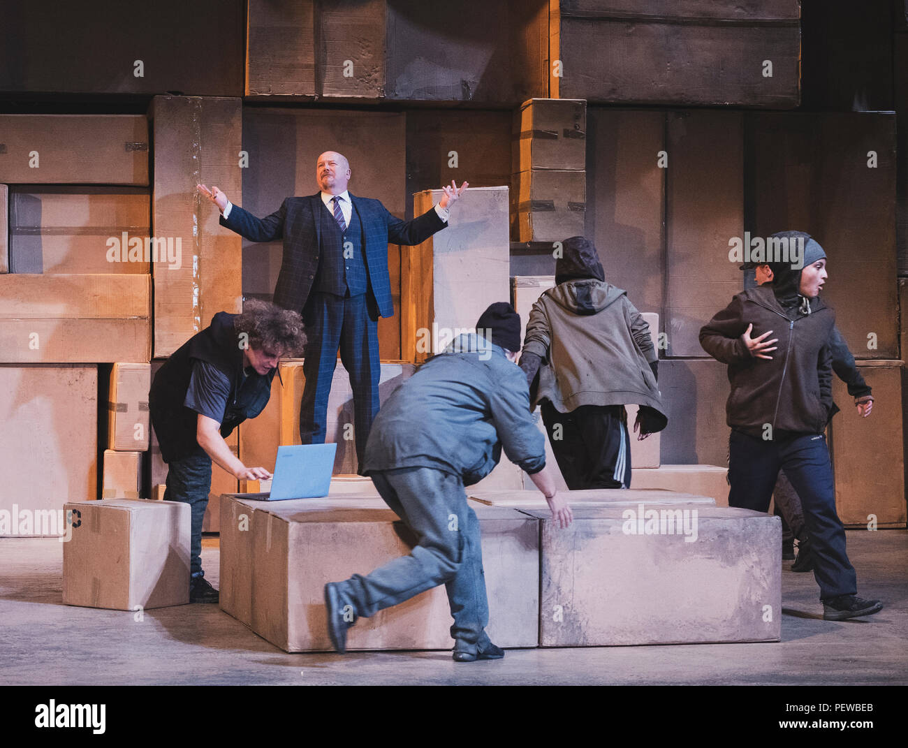scene from The Beggar's Opera dress rehearsal at King's Theatre part of the Edinburgh International Festival 2018. Production performed by Theatre des - Stock Image