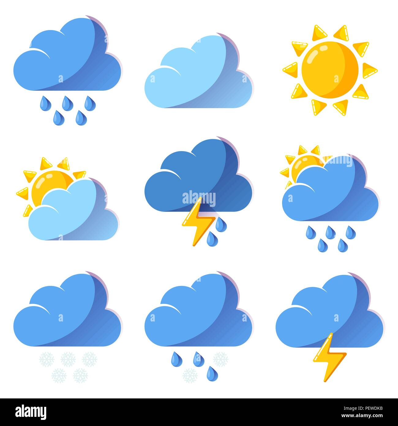 Weather icons forecast colorful vector icons set - Stock Vector