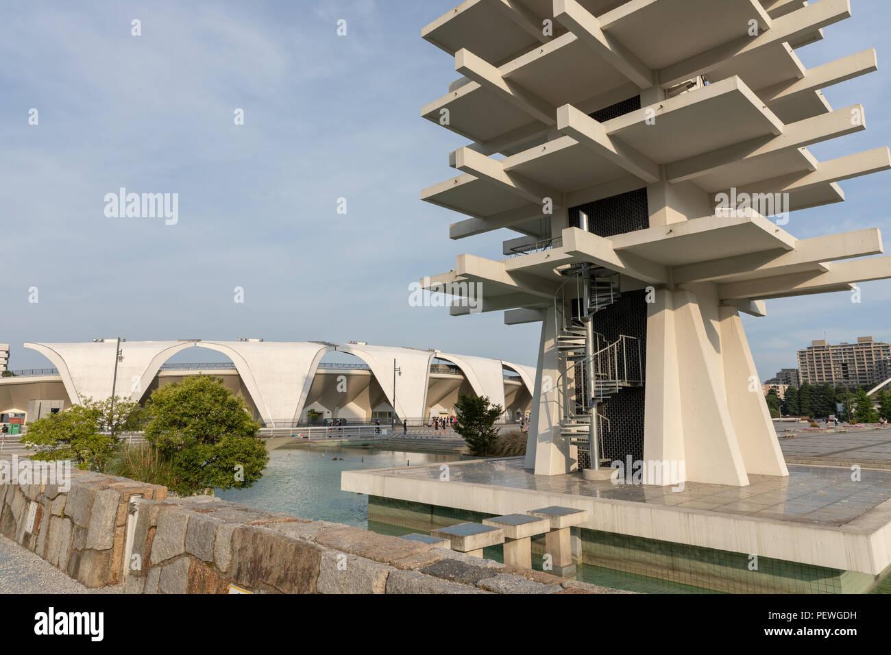 Control Tower (Yoshinobu Ashihara) and Komazawa Olympic Park Stadium (Murata Masachika Architects), built for the 1964 Summer Olympics in Tokyo, Japan Stock Photo