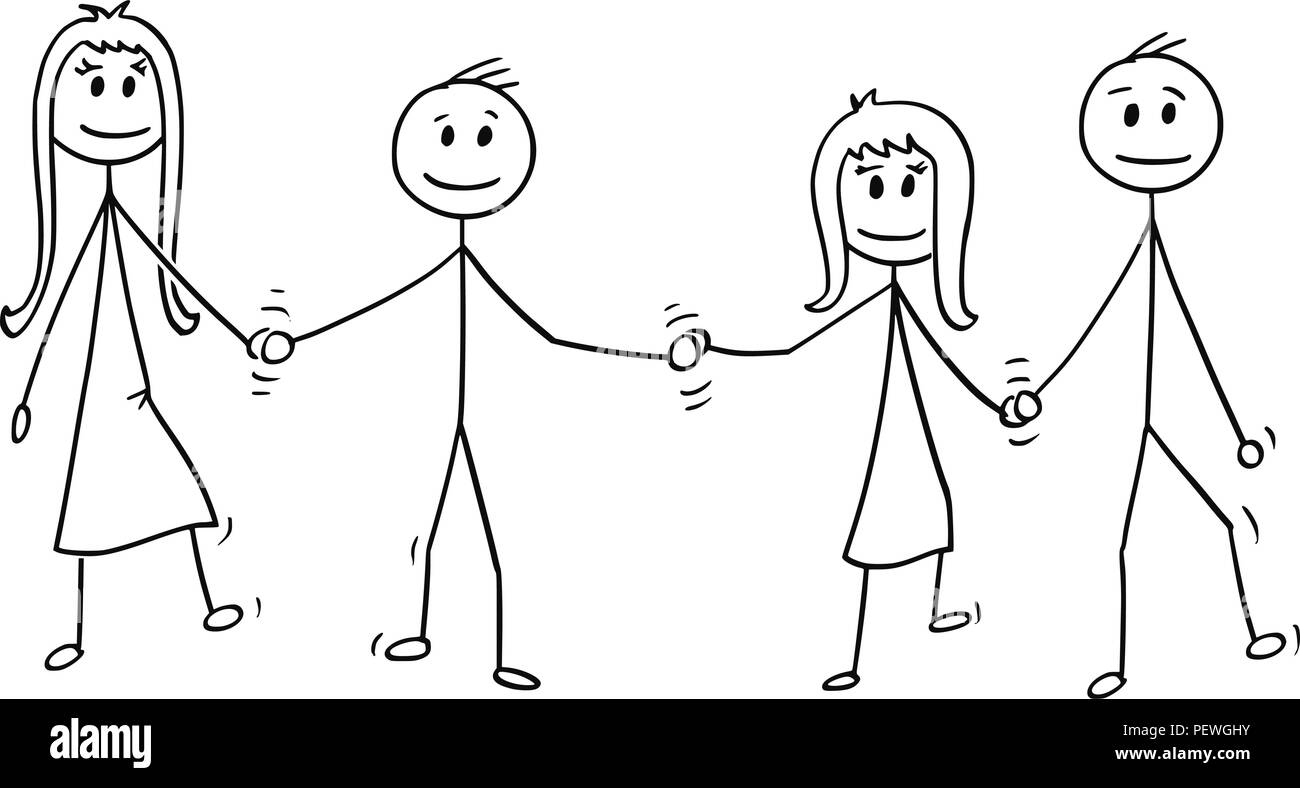 Cartoon of four children boys and girls walking together while holding hands