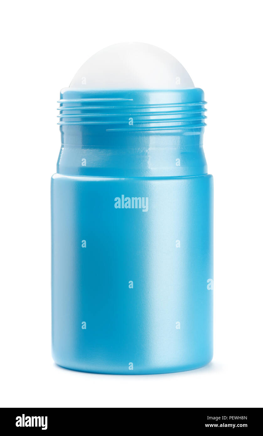 Front view of blue roll on deodorant bottle isolated on white - Stock Image
