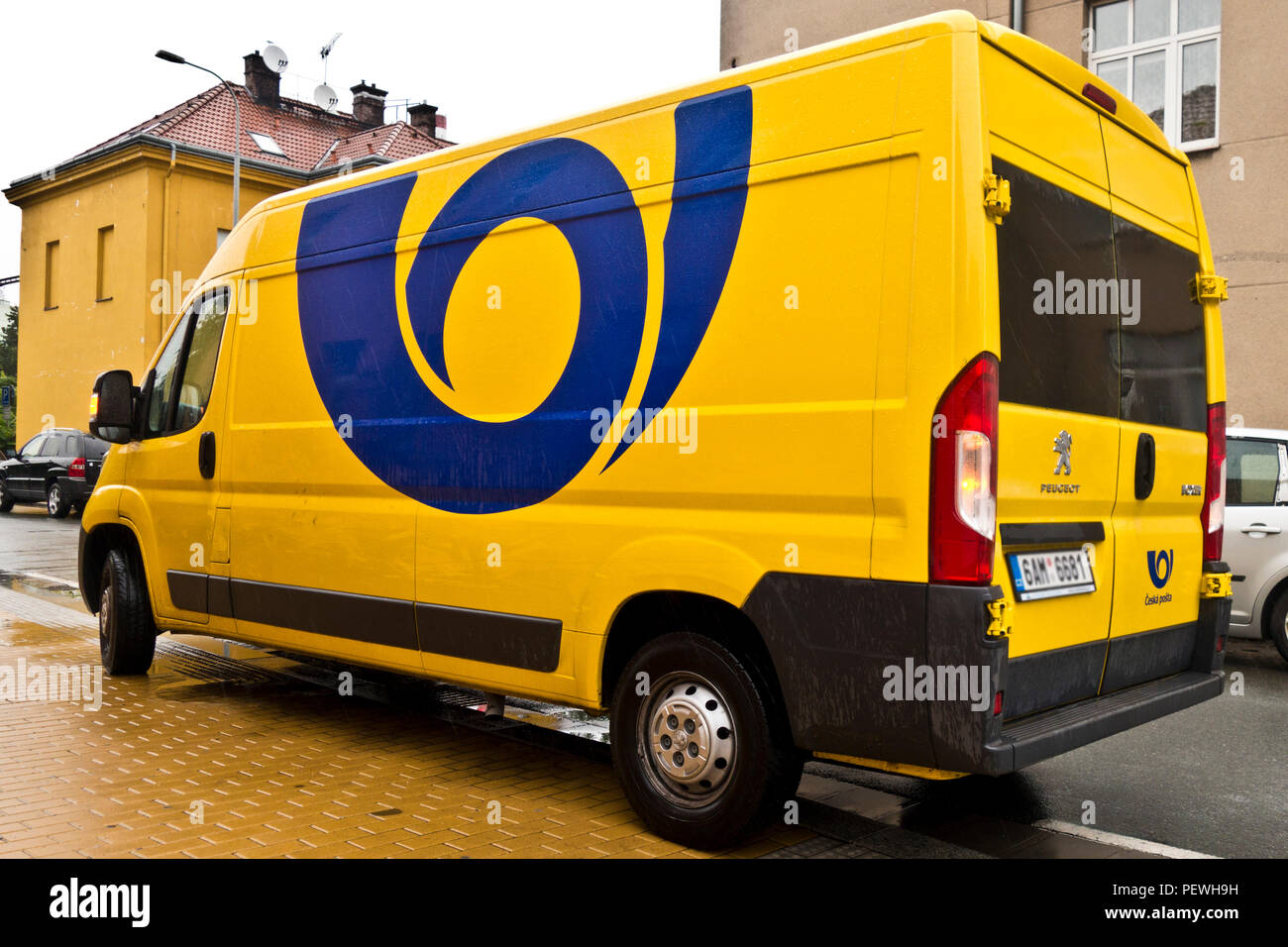 Ceska Posta or Czech mail delivery truck - Stock Image