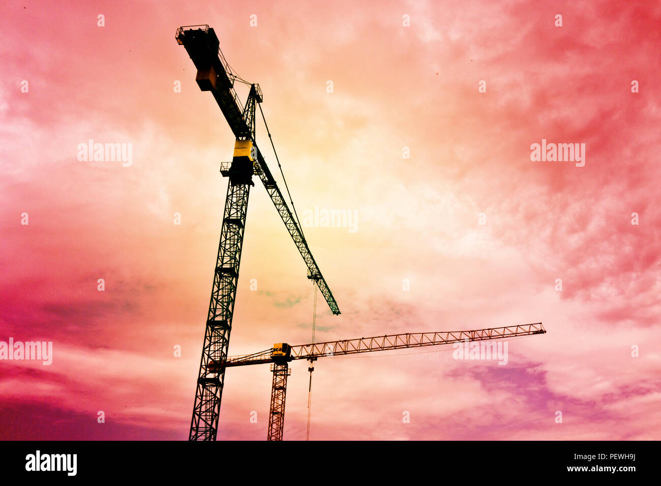 construction tower cranes - Stock Image