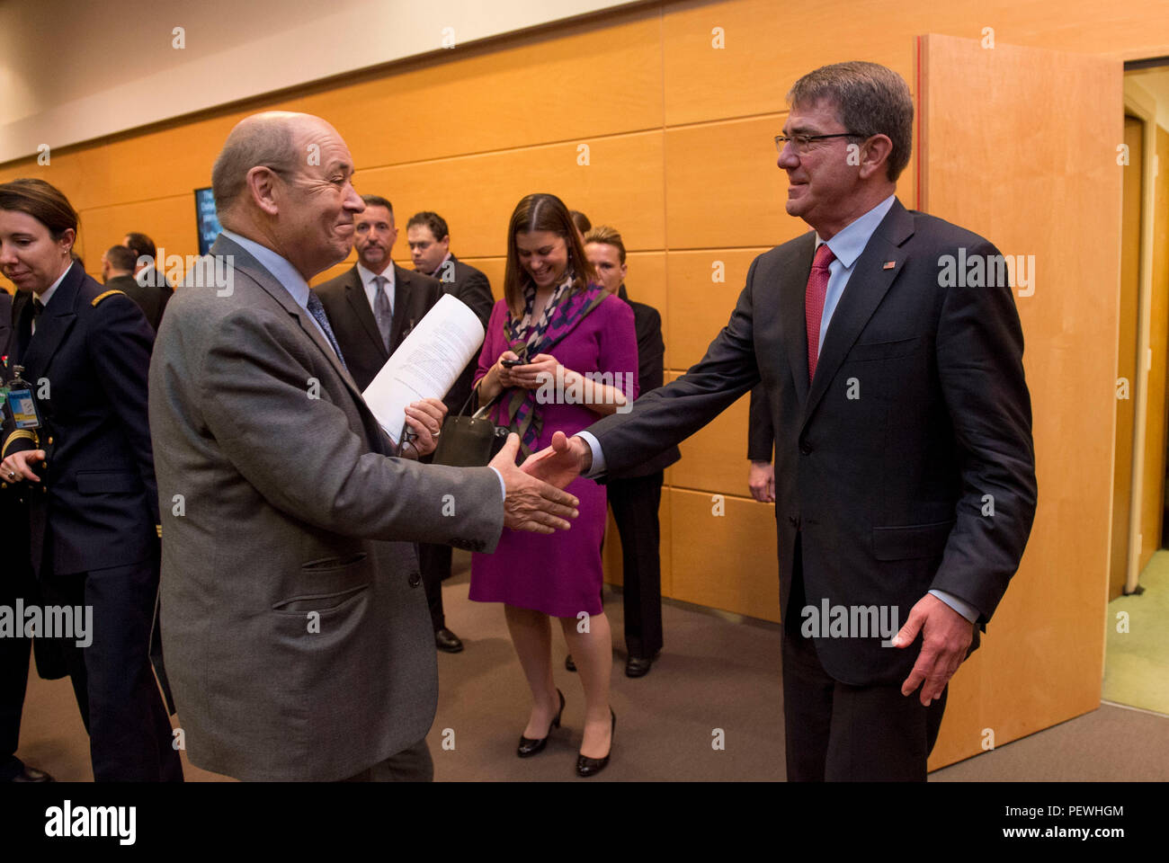 Secretary Of Defense Ash Carter Greets The French Minister Of