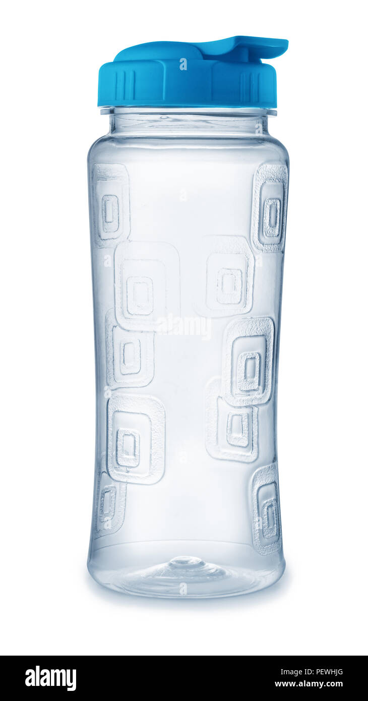 Front view of reusable plastic water bottle isolated on white - Stock Image