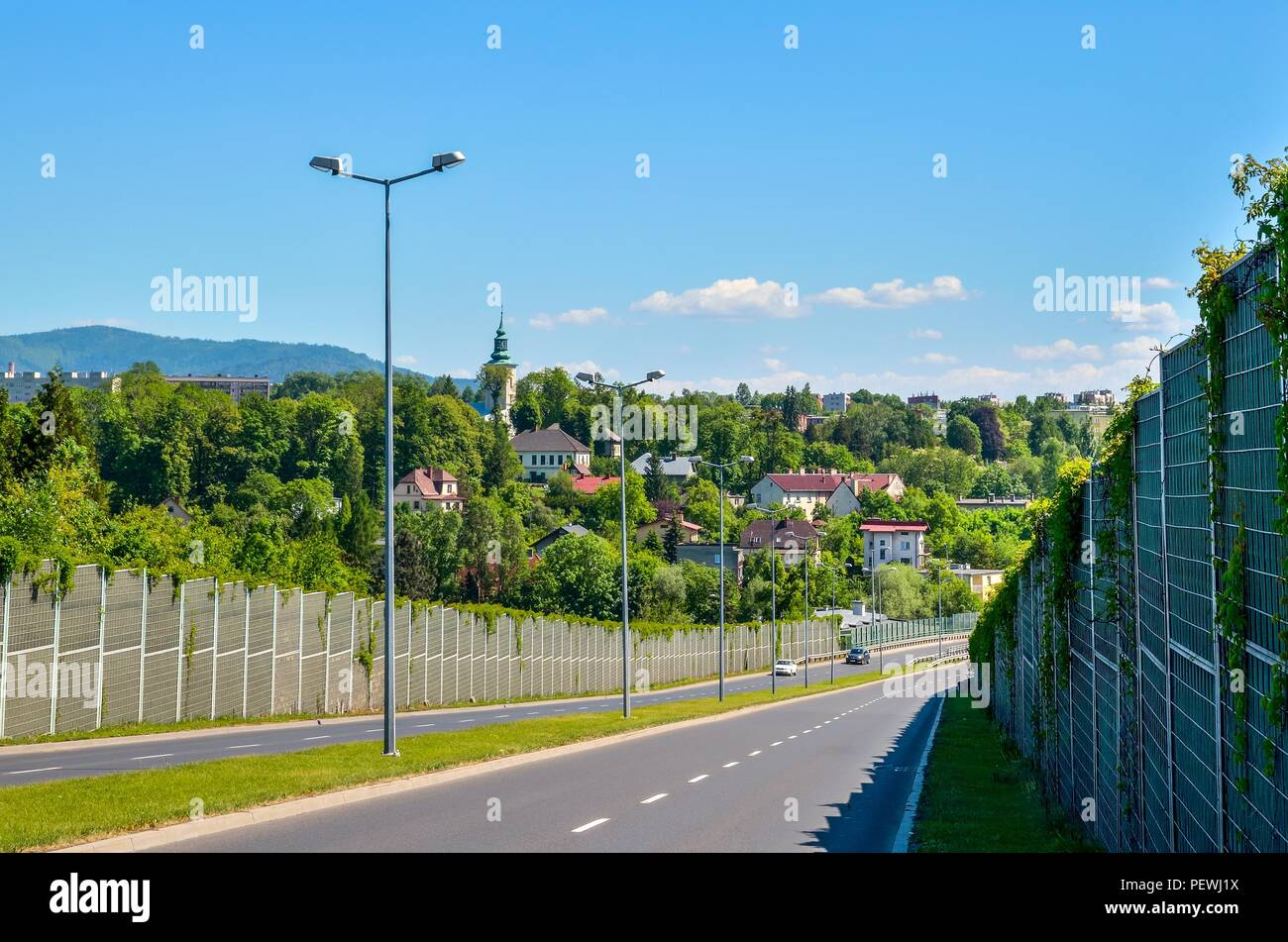 Beautiful urban landscape. View of the city of Bielsko-Biala in Poland. - Stock Image