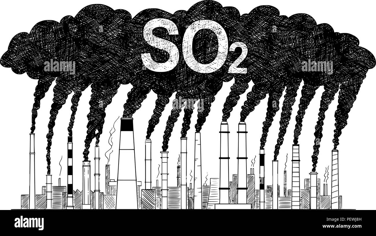 Vector Artistic Drawing Illustration of Smoking Smokestacks, Concept of Industry or Factory SO2 Air Pollution - Stock Image