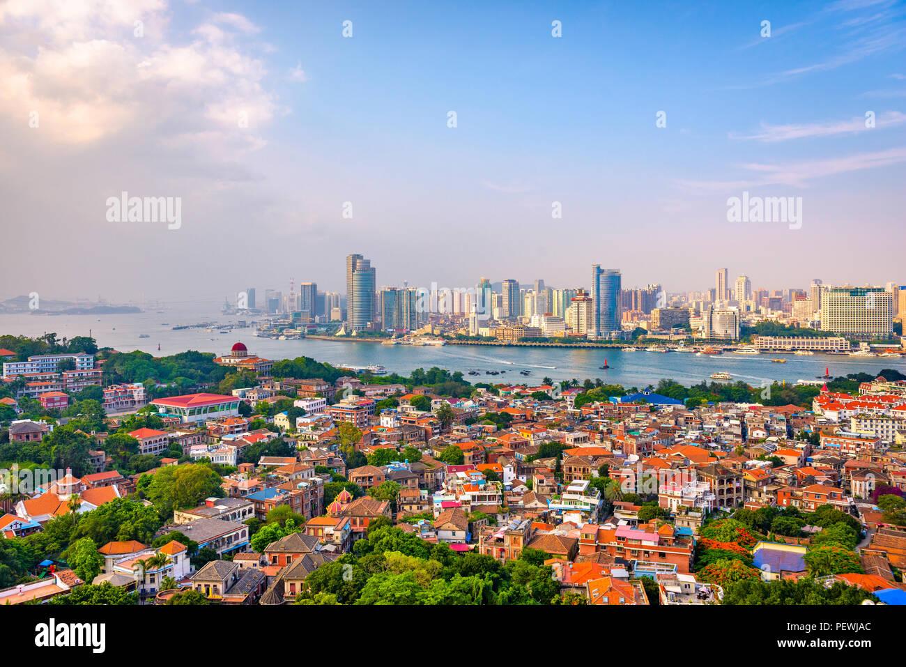 xiamen china city skyline from gulangyu island PEWJAC