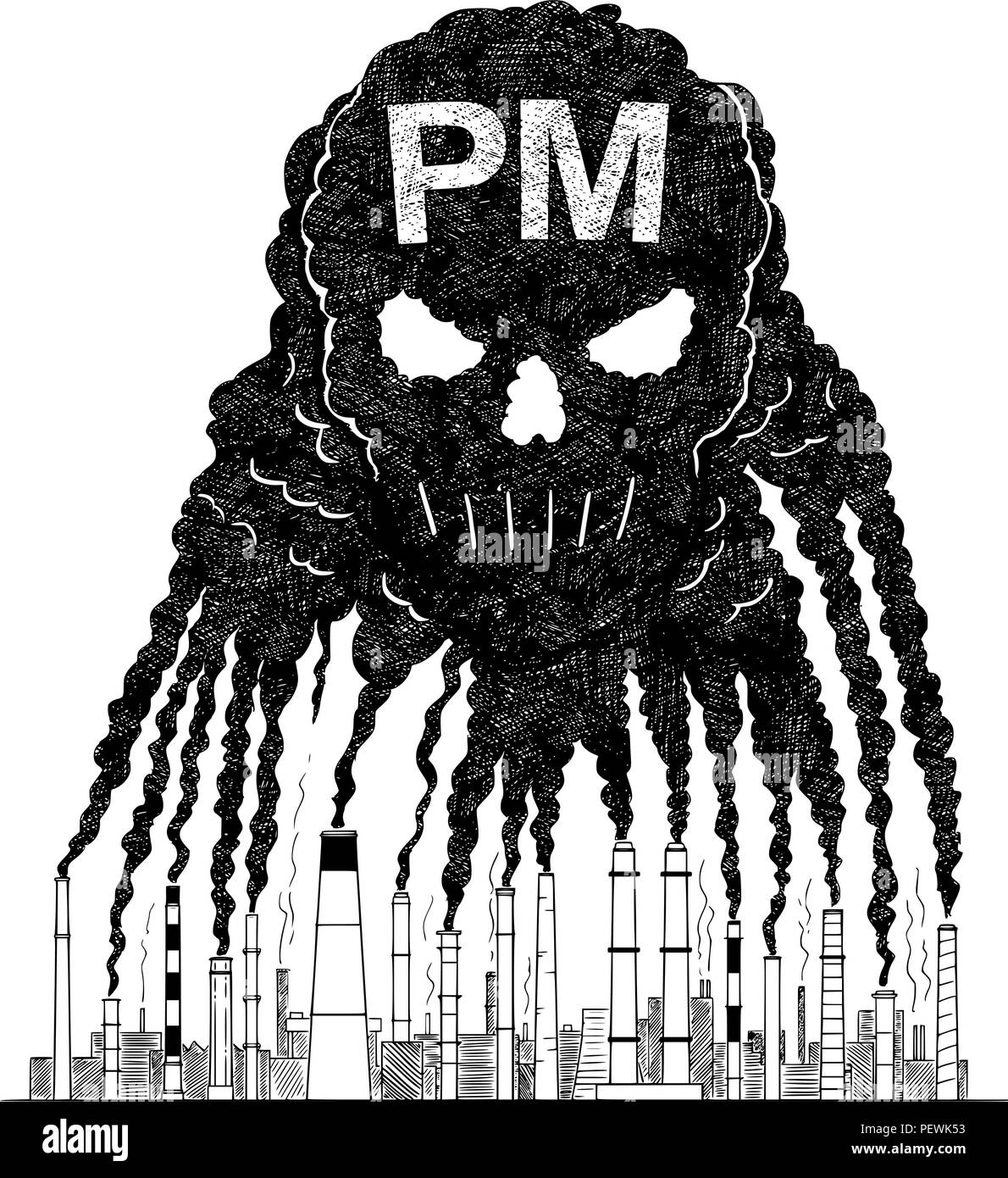Vector artistic drawing illustration of smoke from smokestacks creating human skull concept of pm air pollution