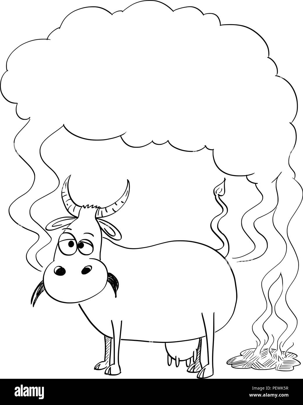 Vector Black and White Drawing or Illustration of Cow Producing Methane - Stock Image
