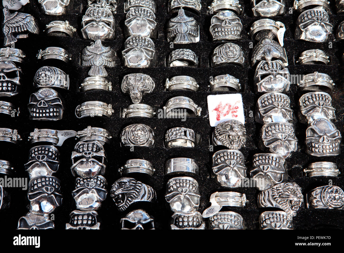 Shop for gothic rings, Germany, Europe - Stock Image
