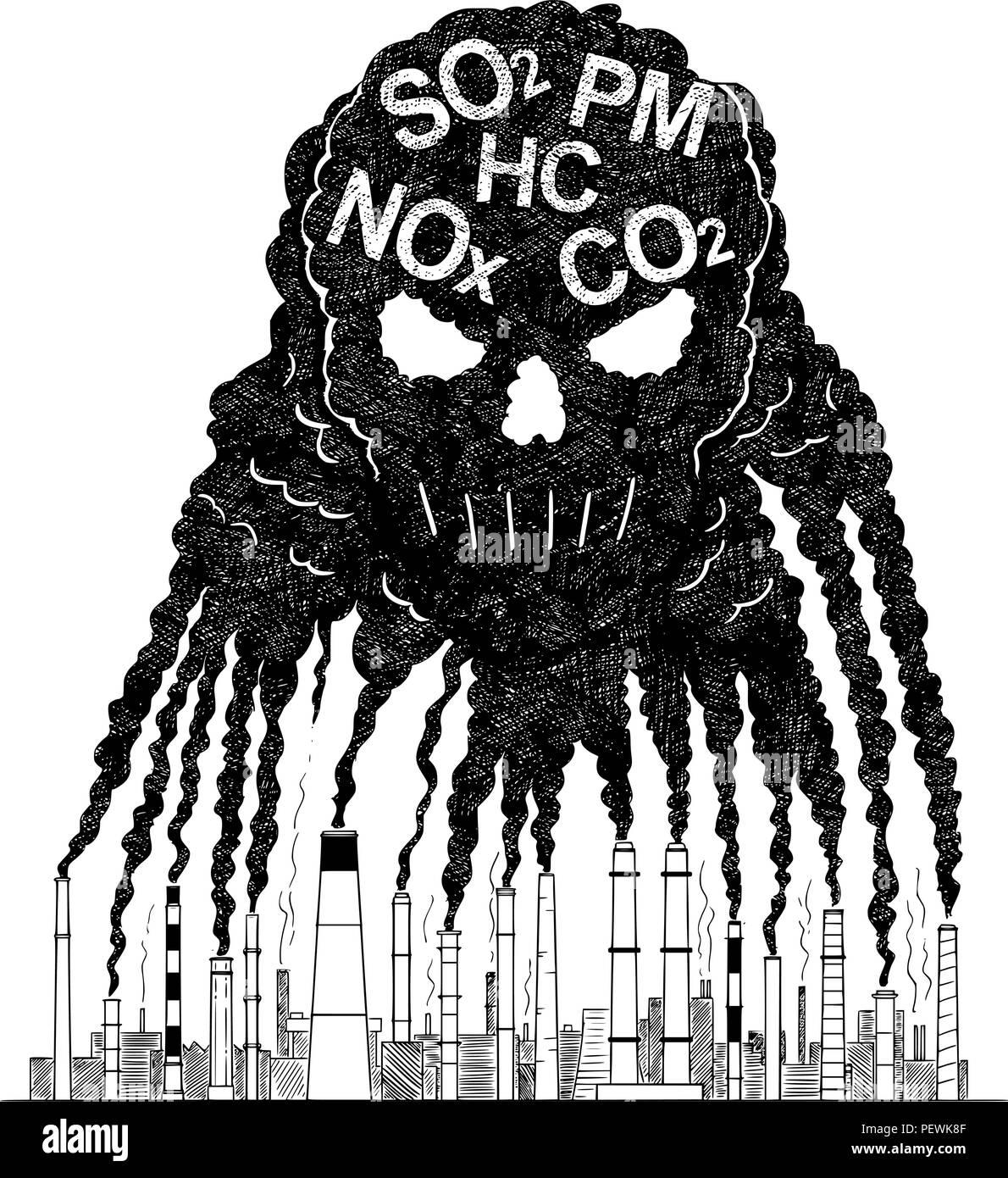 Vector artistic drawing illustration of smoke from smokestacks creating human skull concept of toxic air