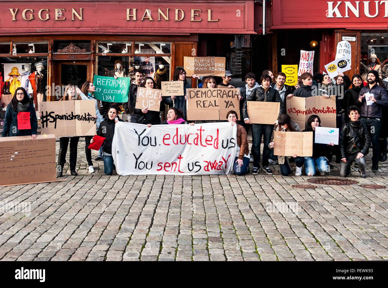 Students protest in Bryggen, Bergen, Norway - Stock Image