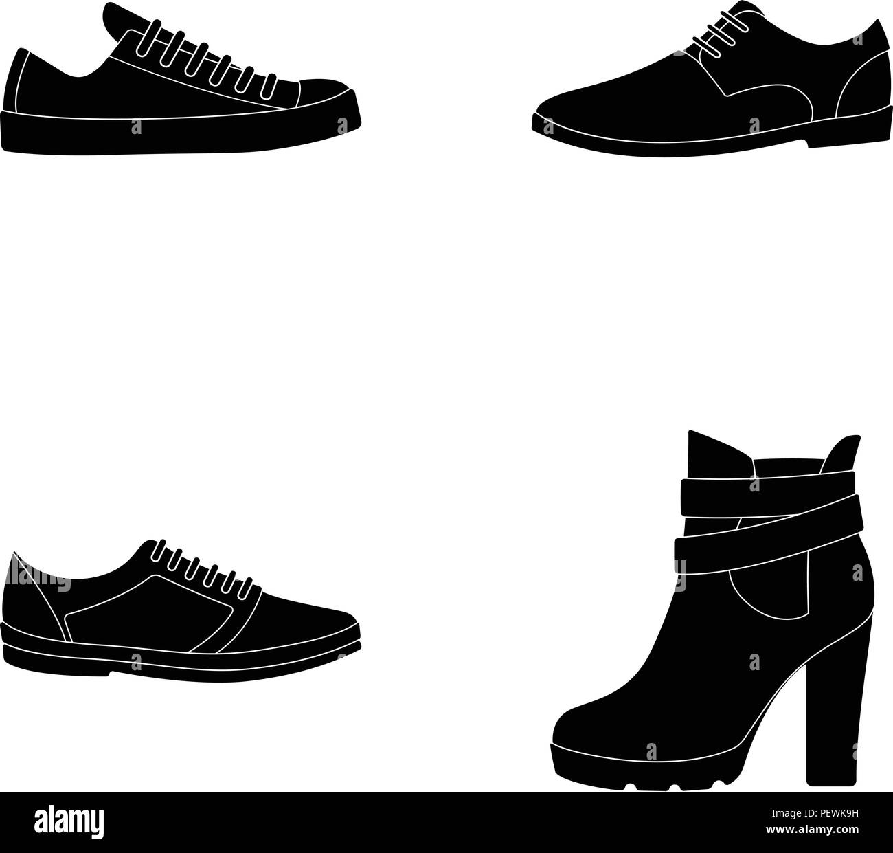 881d37a36b47 A set of icons on a variety of shoes.Different shoes single icon in black  style vector symbol stock illustration.
