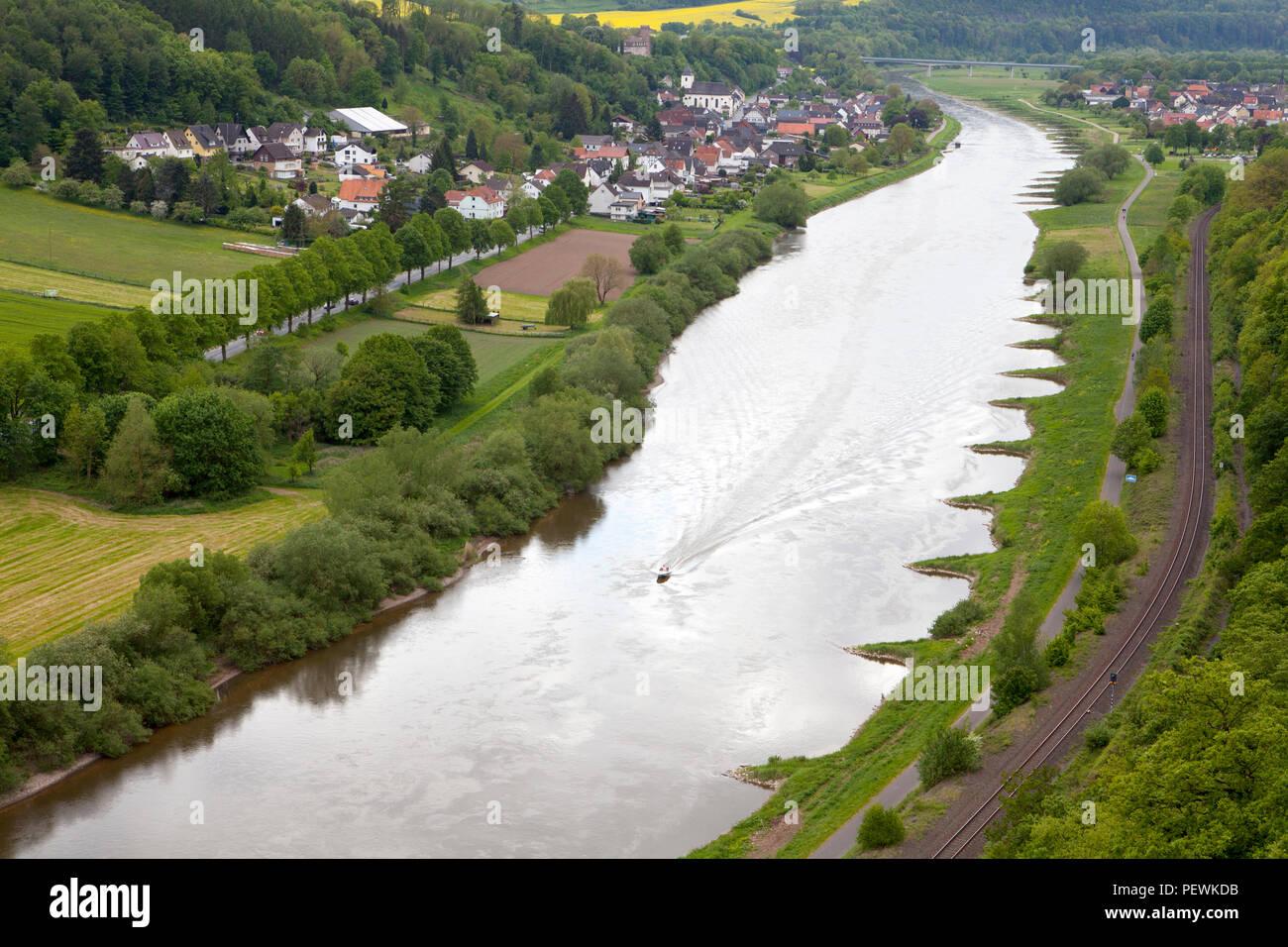 View from the Skywalk on River Weser, Beverungen, Weser Uplands, North Rhine-Westphalia, Germany, Europe - Stock Image