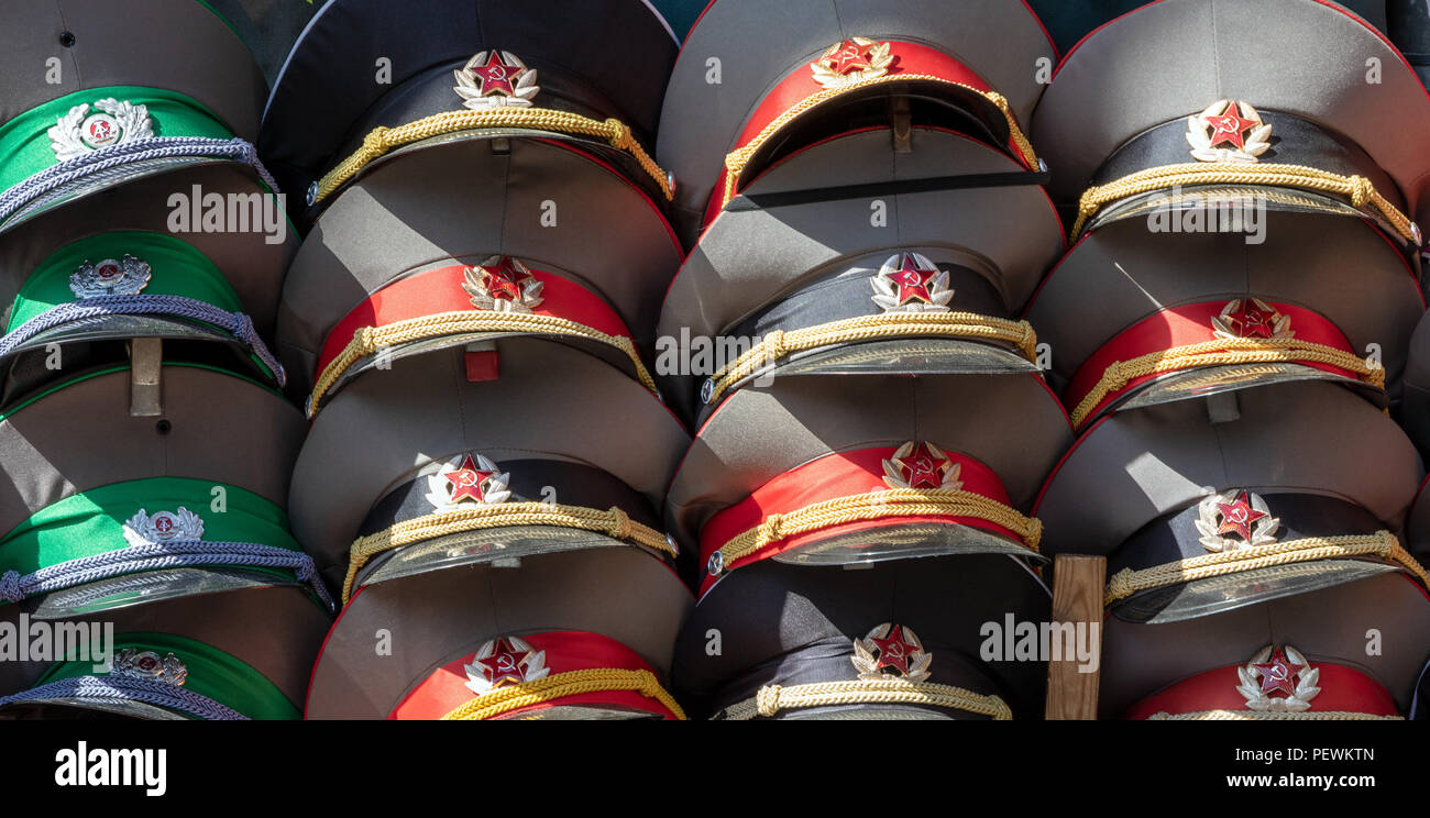 BERLIN, GERMANY - MAY 23, 2014: Sale stand of Soviet and DDR militaria souvenirs near Checkpoint Charlie - Stock Image