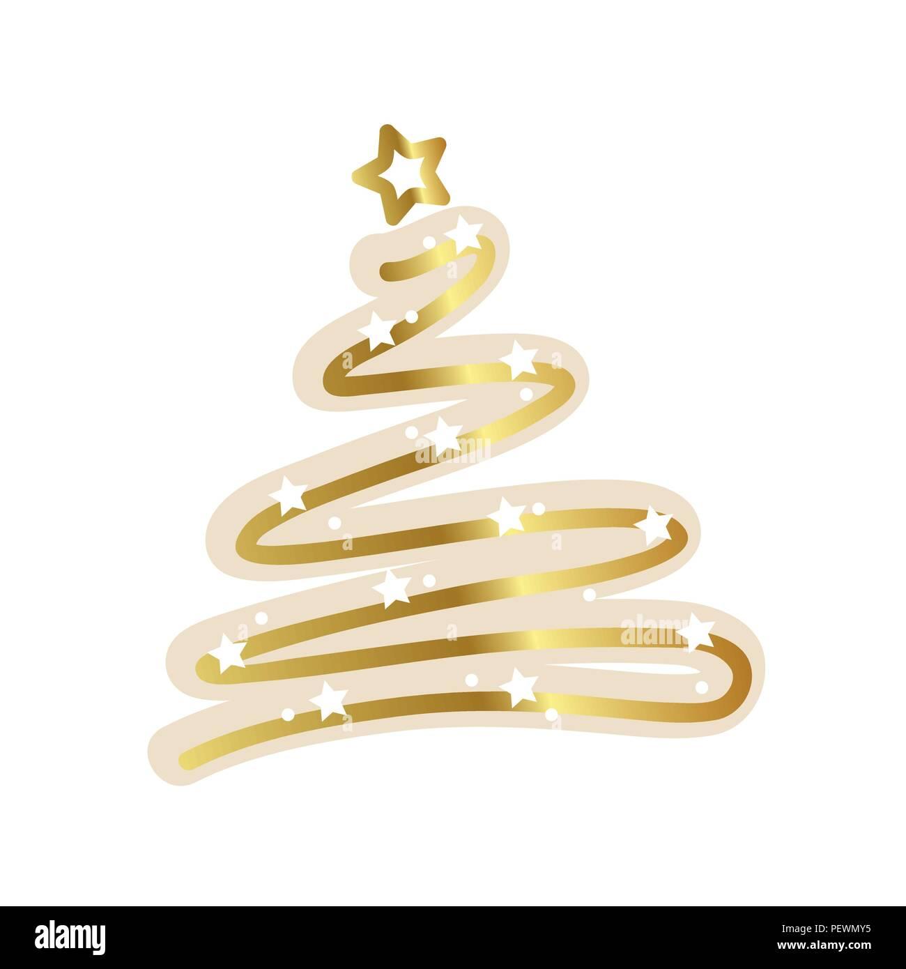 Golden Christmas Tree White Stars Vector Illustration Eps10 Stock