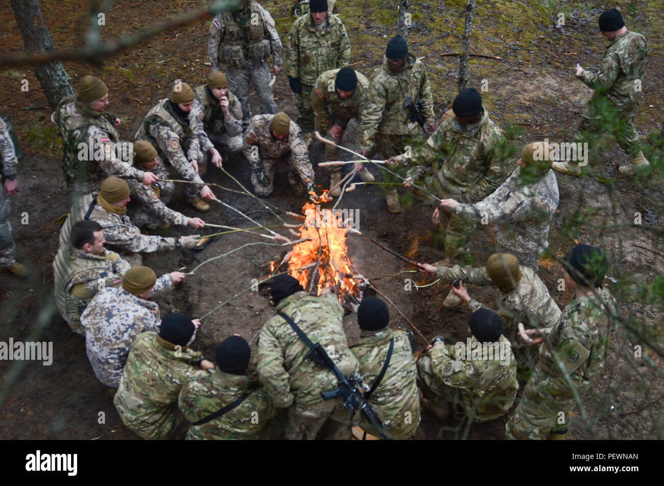 Latvian and U.S. Soldiers come together for a sausage roast after a full day's worth of field training, which the two forces were able to learn from each other, build interoperabity and build a stronger relationship during a field training exercise at Adazi Training Area in Latvia, Feb. 3, 2016. (Photo by U.S. Army Staff Sgt. Steven M. Colvin/Released) - Stock Image