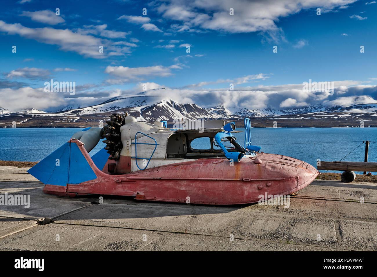 remains of strange flying boat in russian mining town Barentsburg, Svalbard or Spitsbergen, Europe - Stock Image