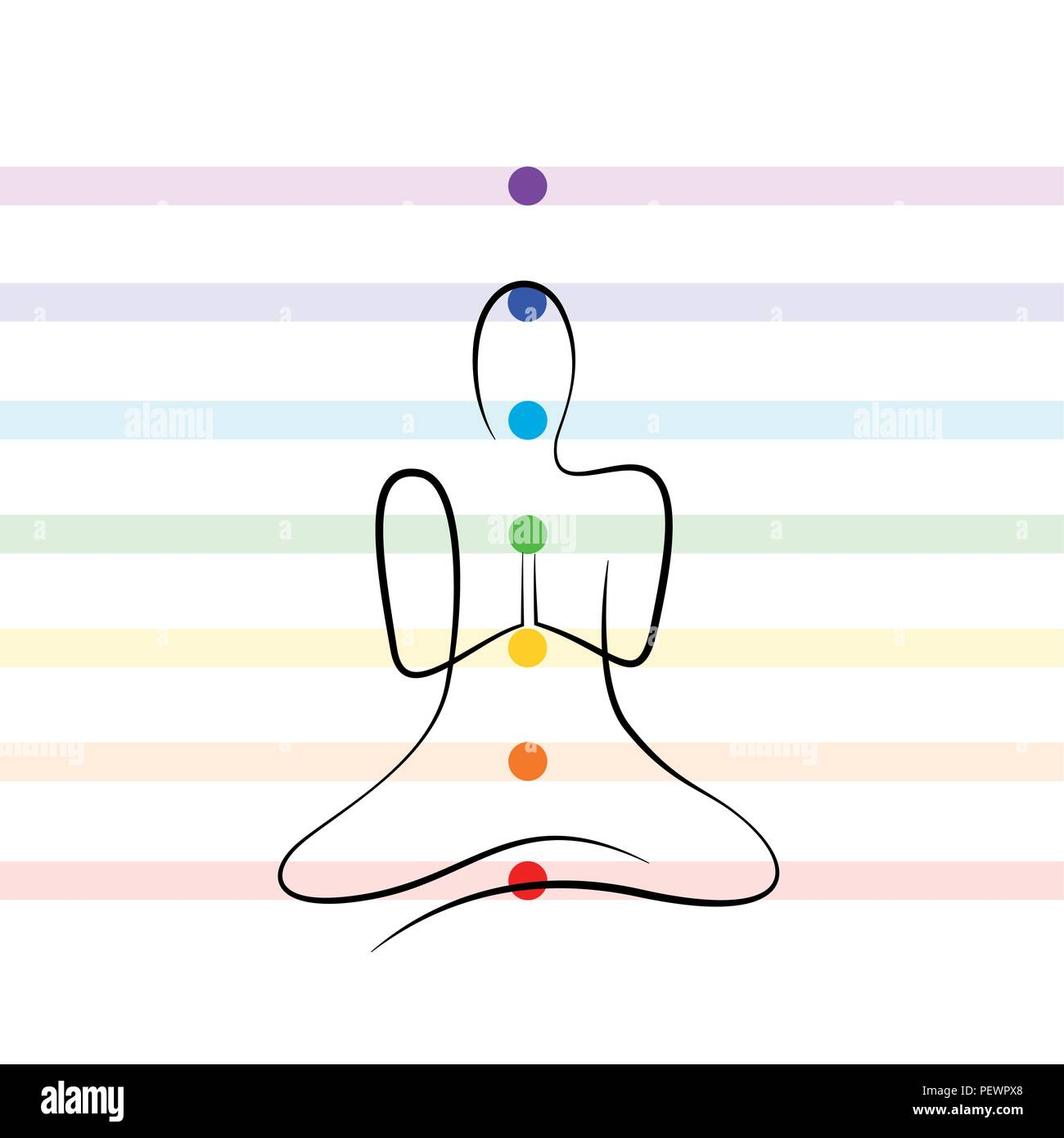 meditation chakra points drawing person vector illustration EPS10 - Stock Image