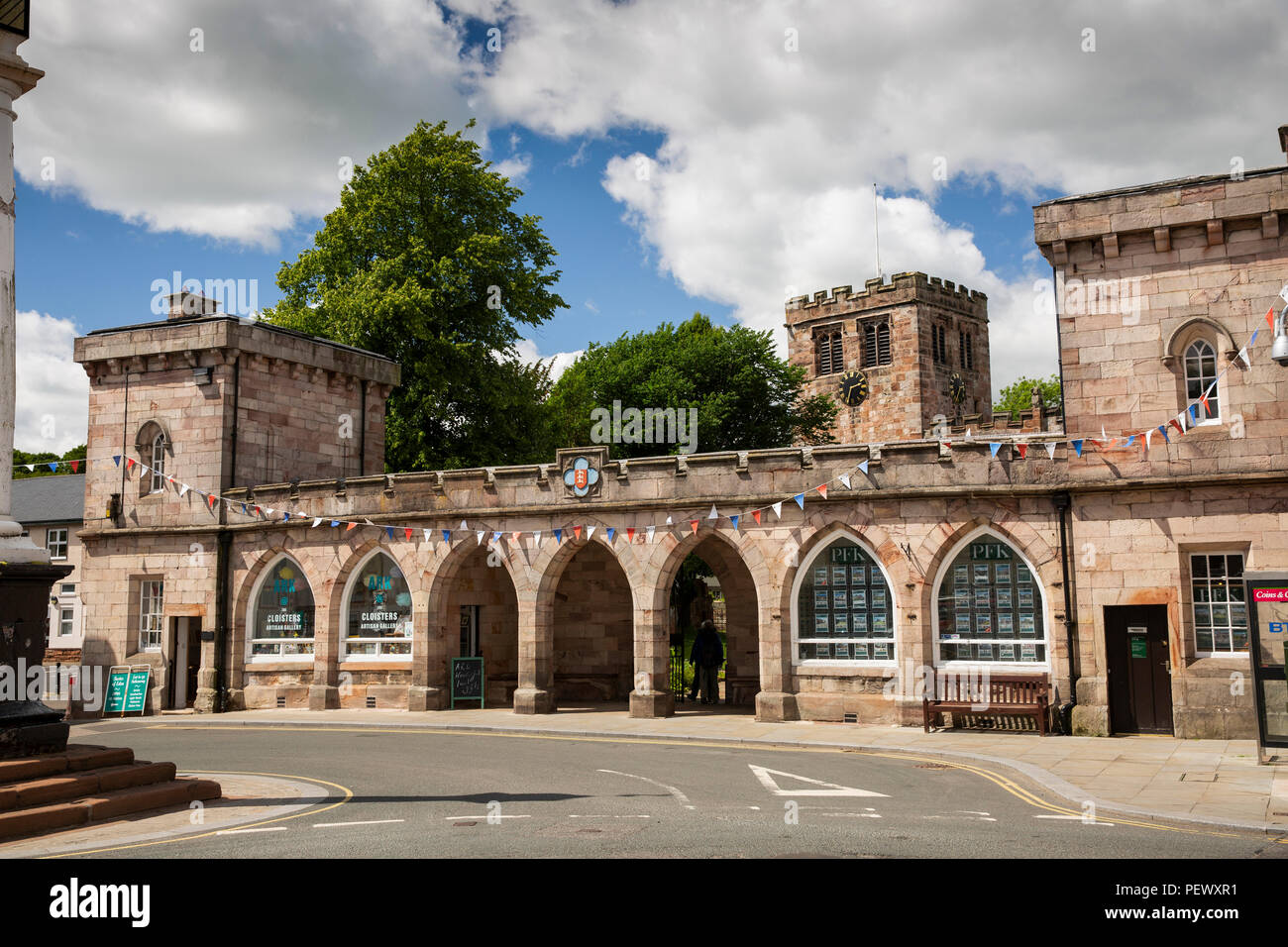 UK, Cumbria, Eden Valley, Appleby, Boroughgate, 1811 cloisters outside St Lawrence's Church - Stock Image