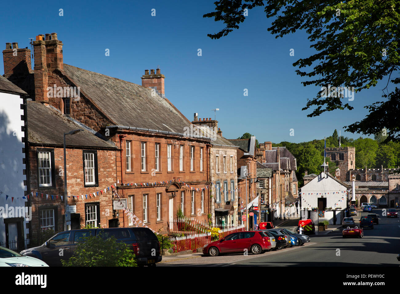 UK, Cumbria, Eden Valley, Appleby, Boroughgate, The Red House and neighbouring historic houses - Stock Image