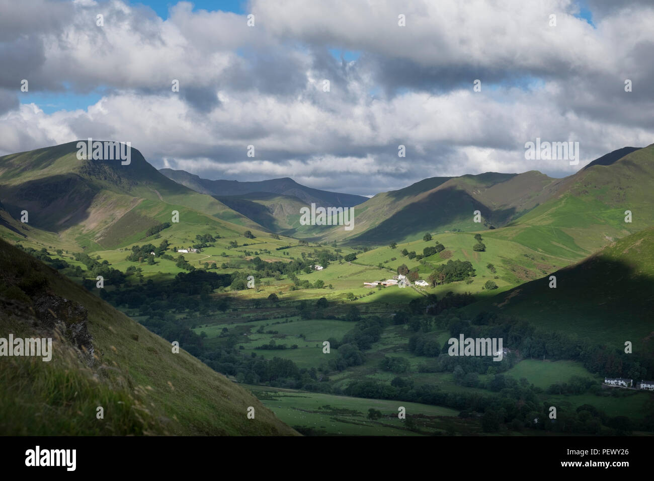 View of Newlands Valley from Cat Bells, Keswick, Lake District, England, UK Stock Photo