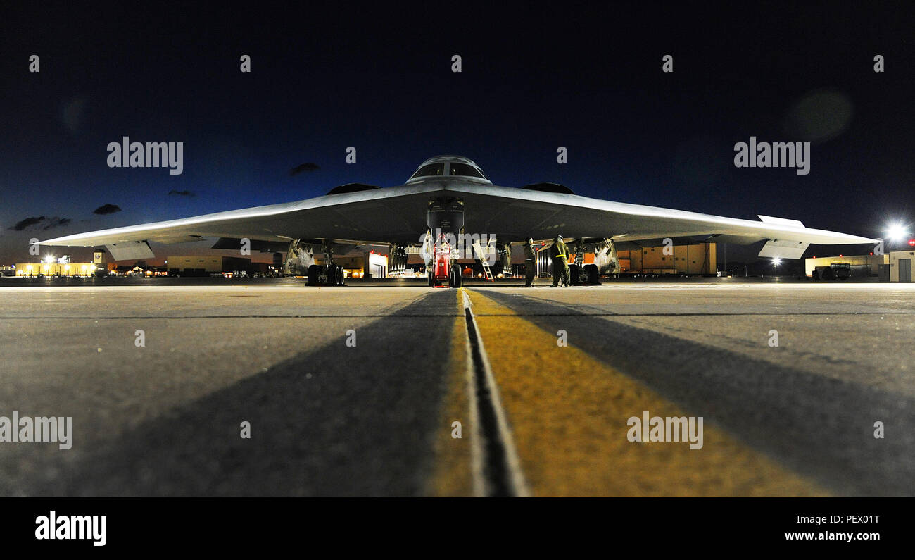 A U.S. Air Force B-2 Spirit aircraft sits on the flightline prior to takeoff at Whiteman Air Force Base, Mo., for Red Flag (RF) 16-1 Feb. 2, 2016. Established in 1975, RF includes command, control, intelligence and electronic warfare exercises to better prepare forces for combat. - Stock Image
