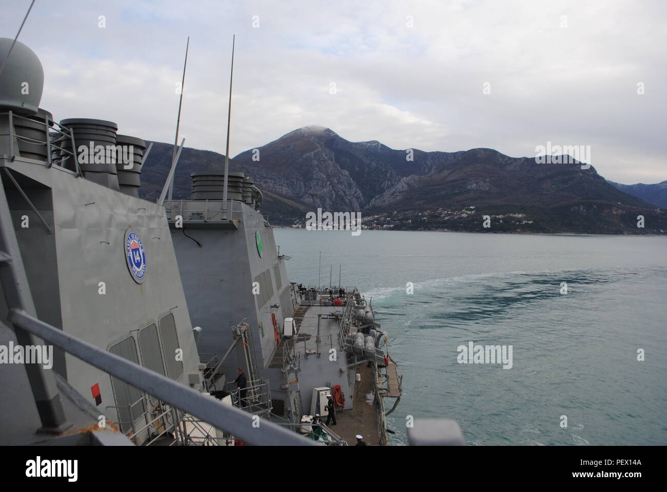 160212-N-ZZ999-019 BAR, Montenegro (Feb. 12, 2016) USS The Sullivans (DDG-68) pulls into Bar, Montenegro, Feb. 12, 2016. The Sullivans is conducting naval operations in the U.S. 6th Fleet area of operations in support of U.S. national security interests in Europe. (U.S. Navy photo/ Released) Stock Photo