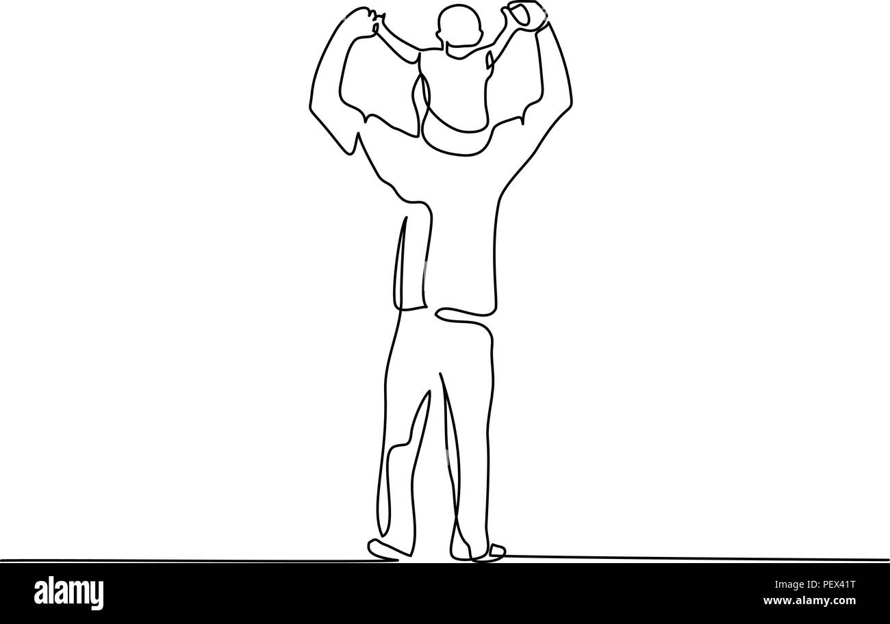 Continuous One Line Drawing Family Concept Small Boy Is Sitting On